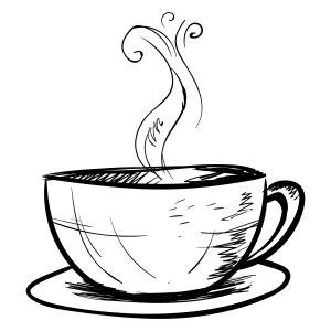 Cup of coffee sketch, illustration, vector on white background.